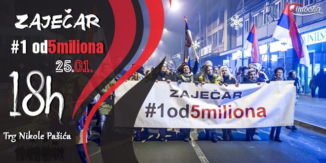 """Drugi protestni skup """"1 od 5 miliona"""" u Zaječaru"""