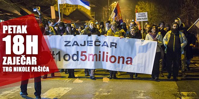 """Četvrti protestni skup """"1 od 5 miliona"""" u Zaječaru"""