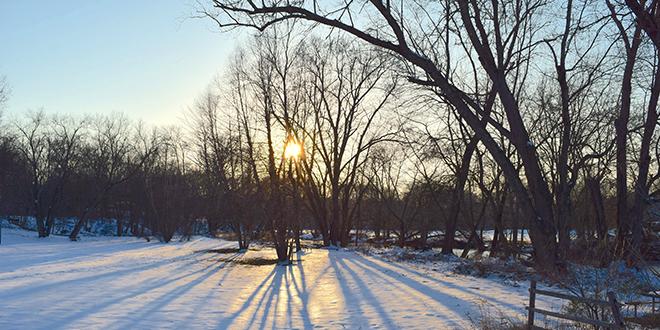 Хладно време, залазак сунца