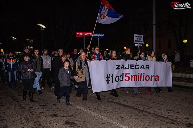 """Šesti protestni skup """"1 od 5 miliona"""" u Zaječaru"""