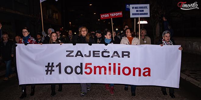 """Шести протестни скуп """"1 од 5 милиона"""" у Зајечару"""