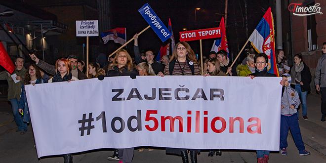 """Deveti protestni skup """"1 od 5 miliona"""" u Zaječaru"""