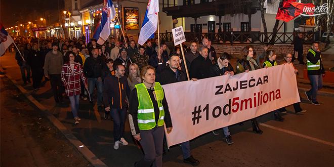 """Једанаести протестни скуп """"1 од 5 милиона"""" у Зајечару"""