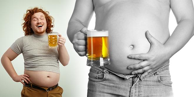 Мушкарац са криглом пива и пивским стомаком