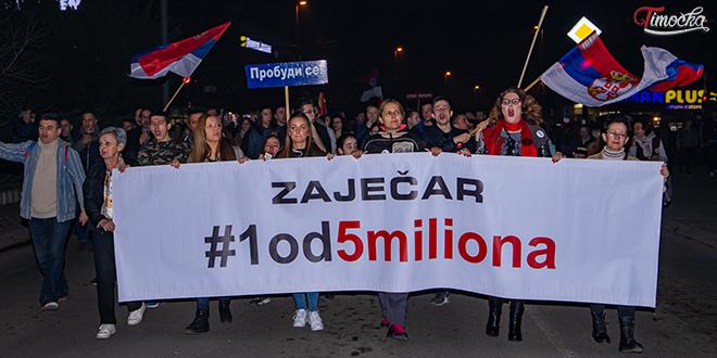 """Осми протестни скуп """"1 од 5 милиона"""" у Зајечару"""