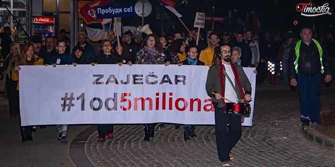 """Sedmi protestni skup """"1 od 5 miliona"""" u Zaječaru"""