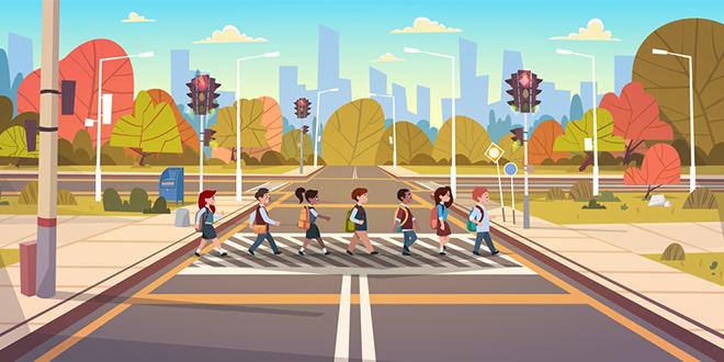 Школска деца прелазе пут на пешачкој стази са семафорима