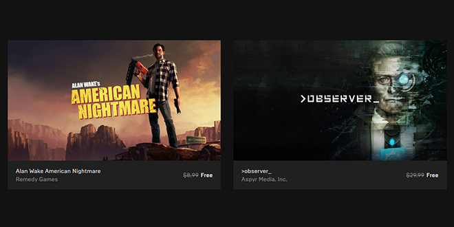 """Epic Games — Free Games """"Alan Wake's American Nightmare"""" и """"Observer"""""""