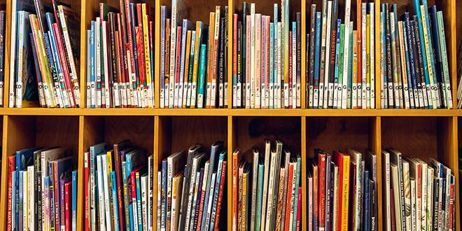 Дрвена полица са дечијим књигама