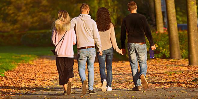 Јесен, пријатељи шетају у парку