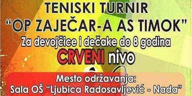 """Тениски турнир """"Отворено првенство Зајечара АС Тимок"""" за девојчице и дечаке до осам година"""