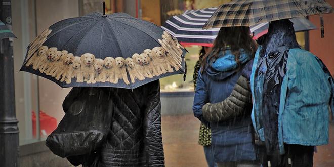 Киша, људи носе кишобране