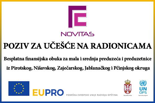 """""""Novitas"""" Pirot — Besplatna finansijska obuka za mala i srednja preduzeća i preduzetnice"""