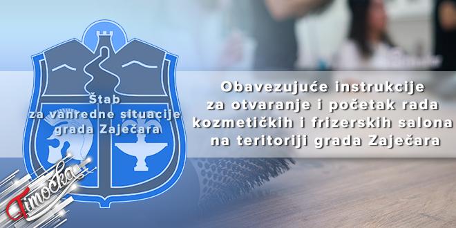 ŠVS: Obavezujuće instrukcije za otvaranje i početak rada kozmetičkih i frizerskih salona na teritoriji grada Zaječara