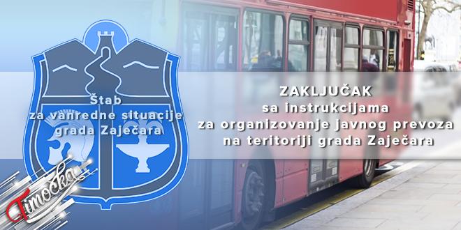 ŠVS grada Zaječara: Zaključak sa instrukcijama za organizovanje javnog prevoza na teritoriji grada Zaječara