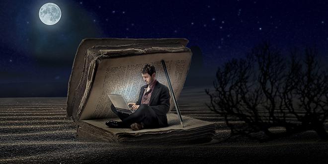 Čovek, knjiga, pun mesec