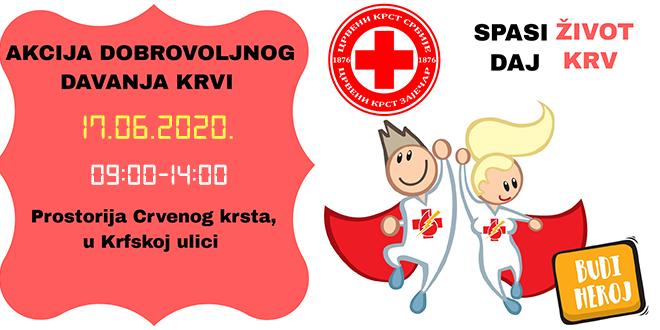 Crveni krst Zaječar: Dobrovoljno davanje krvi 17. juna