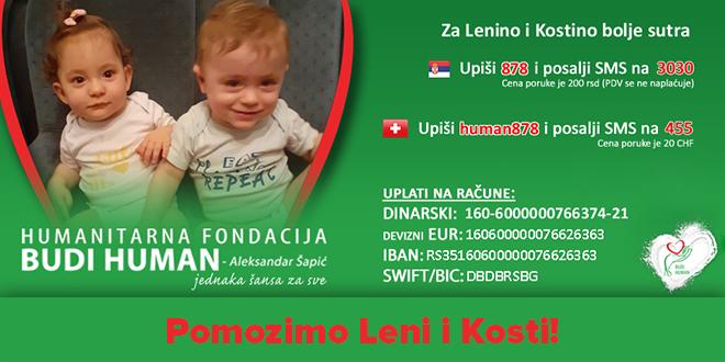 """Humanitarna fondacija """"Budi human"""": Prikupljanje novčanih sredstava za blizance Lenu i Kostu Ćeferjanović iz Zaječara"""