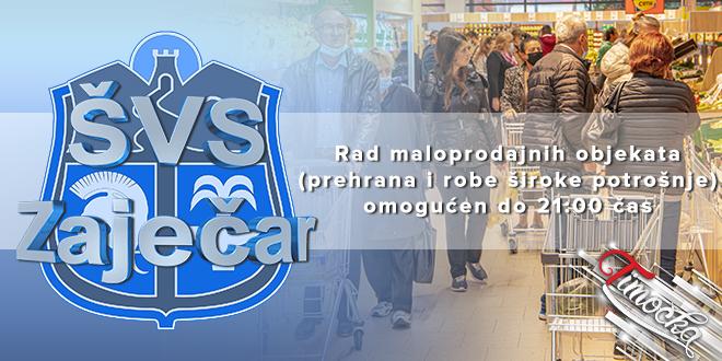 Rad maloprodajnih objekata (prehrana i robe široke potrošnje) omogućen do 21:00 čas