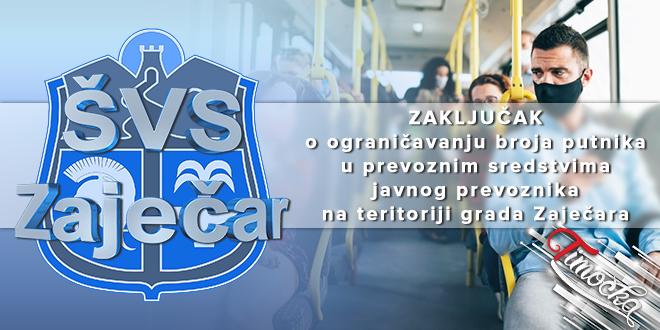 Zaključak o ograničavanju broja putnika u prevoznim sredstvima javnog prevoznika na teritoriji grada Zaječara